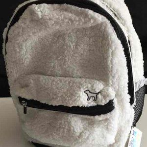 NWT! RARE VS PINK WHITE SHERPA CAMPUS BACKPACK!